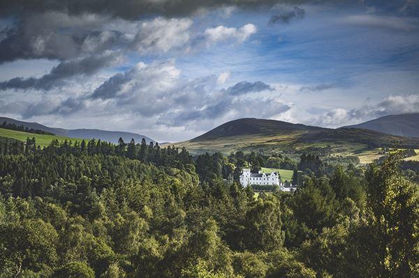 Blair Castle amid stunning scenery