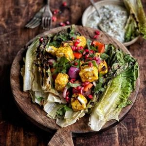 Succulent skewers with charred salad (photo courtesy of Campingaz)