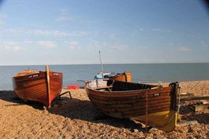 Fishing boats hauled up at Dungeness
