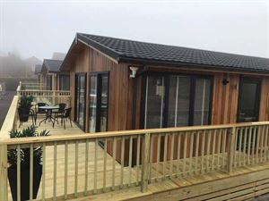 The floating holiday homes have private balconies and outside seating areas