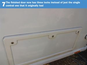 Motorhome Door Lock DIY 7: The finished door now has three locks instead of just the single central one that it originally had