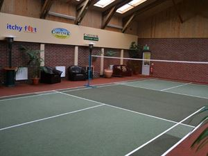 Indoor court and outdoor golf are also available