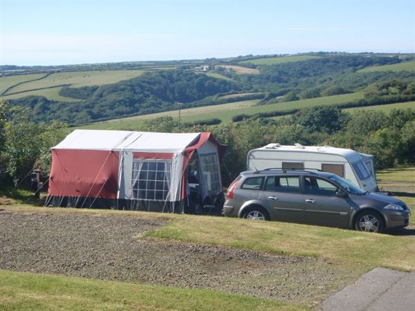 Pentire Haven's pitches have stunning countryside views