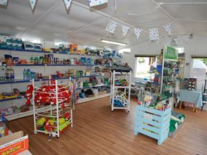 The shop sells a range of food and drink, plus camping accessories and gifts