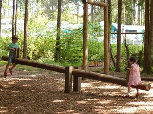 A variety of play equipment is provided