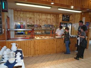 Cafe is located next to the indoor swimming pool and entertainment area