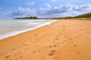 Embleton Beach with Dunstanburgh castle in the background
