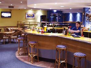Bar and restaurant are near pool area
