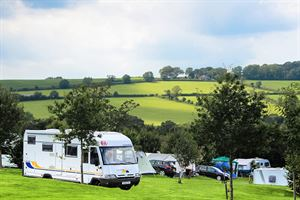 Terraced pitches give great views to the surrounding Devon countryside