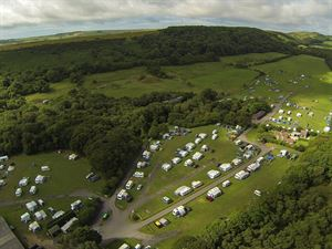 An aerial view of Norden Farm showing this spacious campsite