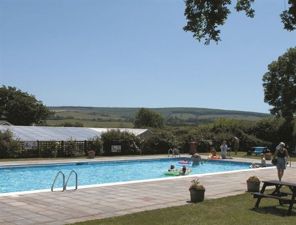 Outdoor heated pool at The Orchards