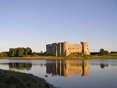 Parking at Carew Castle in Wales is at the car park by the entrance