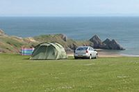 Pitches with sea views at Three Cliffs Bay