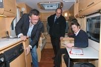Rowland Rivron (left) inspects his new Bailey