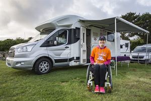 Mel Nicholls with the Benimar Tessoro 494 motorhome - picture courtesy of Mel Nicholls