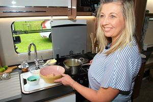 Monica Rivron cooking salmon fishcakes