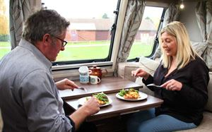 Monica and Rowland Rivron tuck into chorizo scrambled eggs!