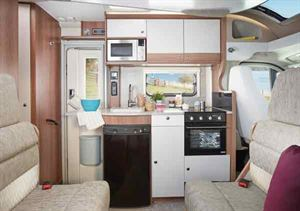 Modern motorhomes have fully equipped kitchens