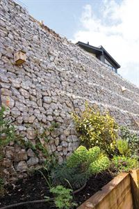 It has some amazing features including this magnificent stone bank