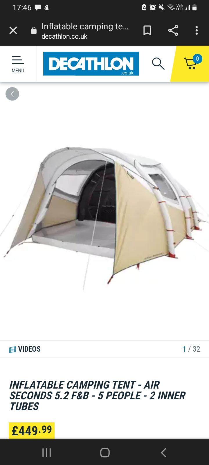 Decathlon  Air tent  Seconds air tent