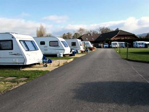Caravan lined up at seasonal pitches