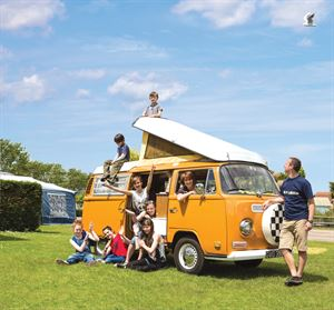Campervans and motorhomes are welcome on the touring area