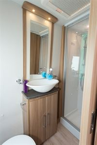 Large stylish washbasins are a feature of Conquests