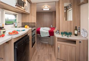 Even though this is a mid-length caravan the bedroom looks a long way from the lounge