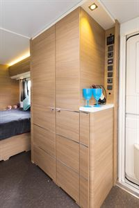 This is the only transverse-bed caravan to have one wardrobe rather than two