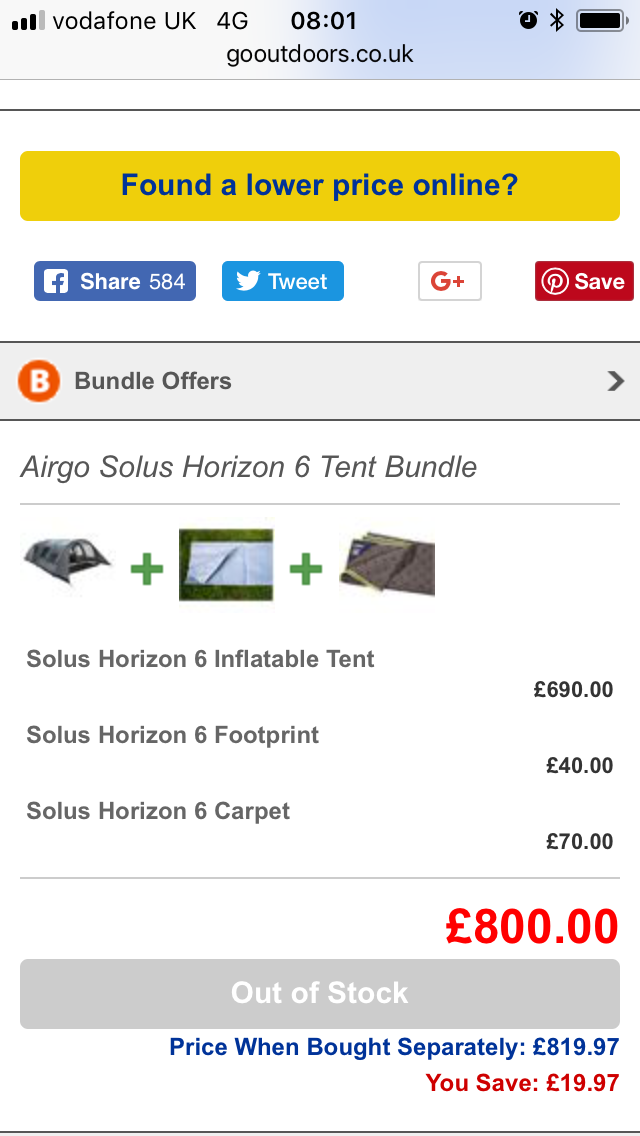 Go Outdoors Airgo Solus horizon