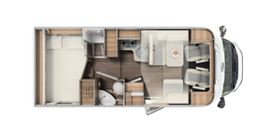 The layout of the new Carado T334 low-profile motorhome