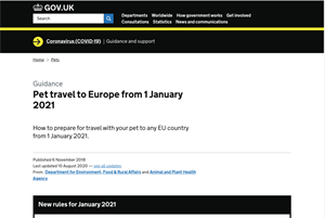 UK issues advice for people travelling to Europe after 1 January 2021
