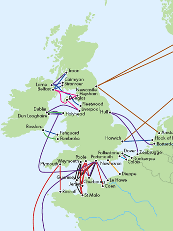 Map Of Uk Ferry Routes.Caravan And Motorhome Ferries Guide 2007 Practical Advice New