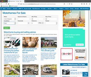 Motorhomes and campervans for sale on the OutAndAboutLive website